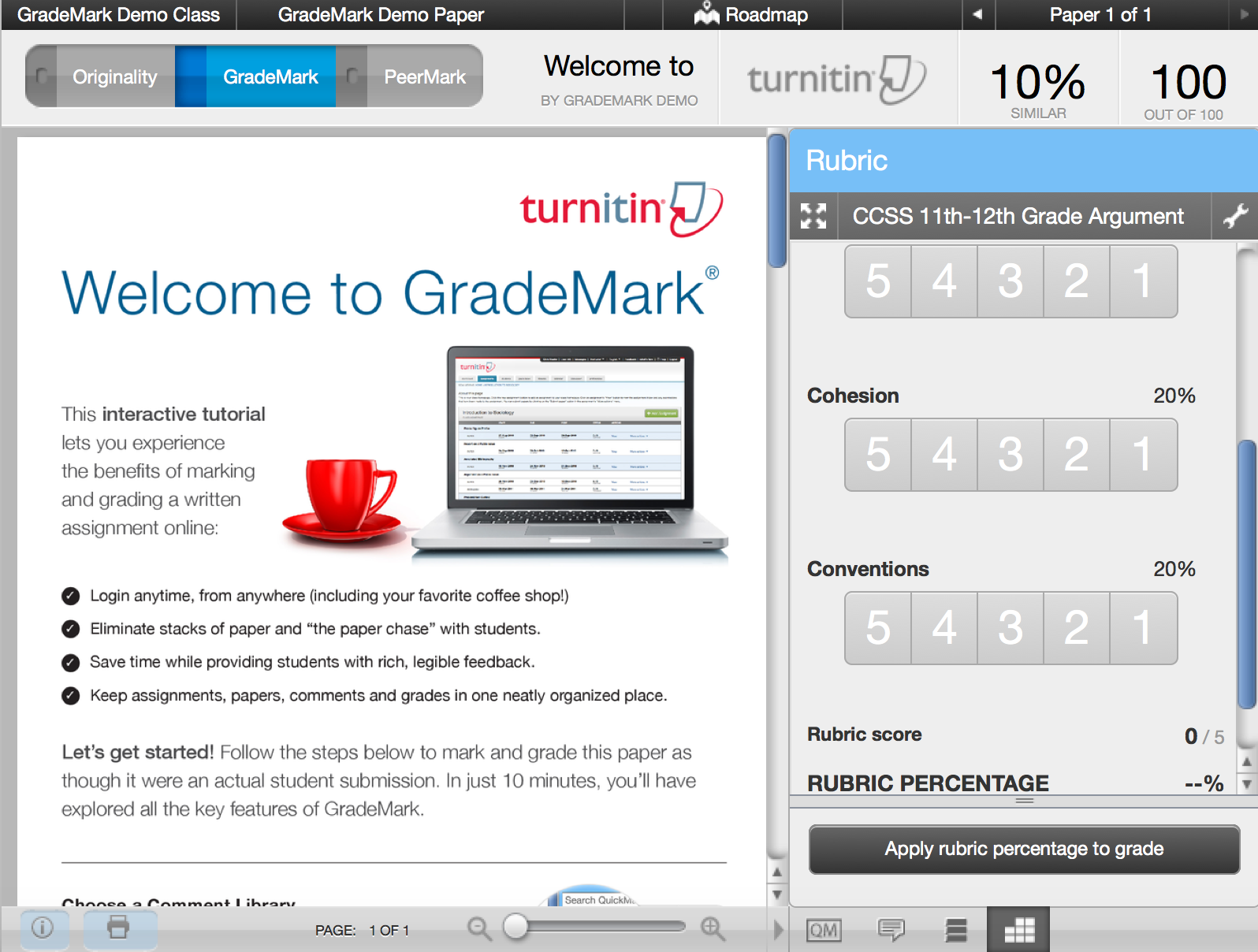 """Grademark document viewer"" by Macquarie University ©2016"