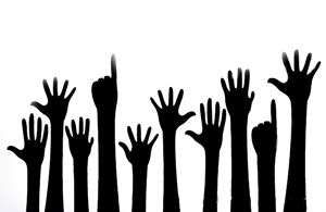 """""""Raised hands"""" by TrueMitra Licensed for use by Macquarie University"""