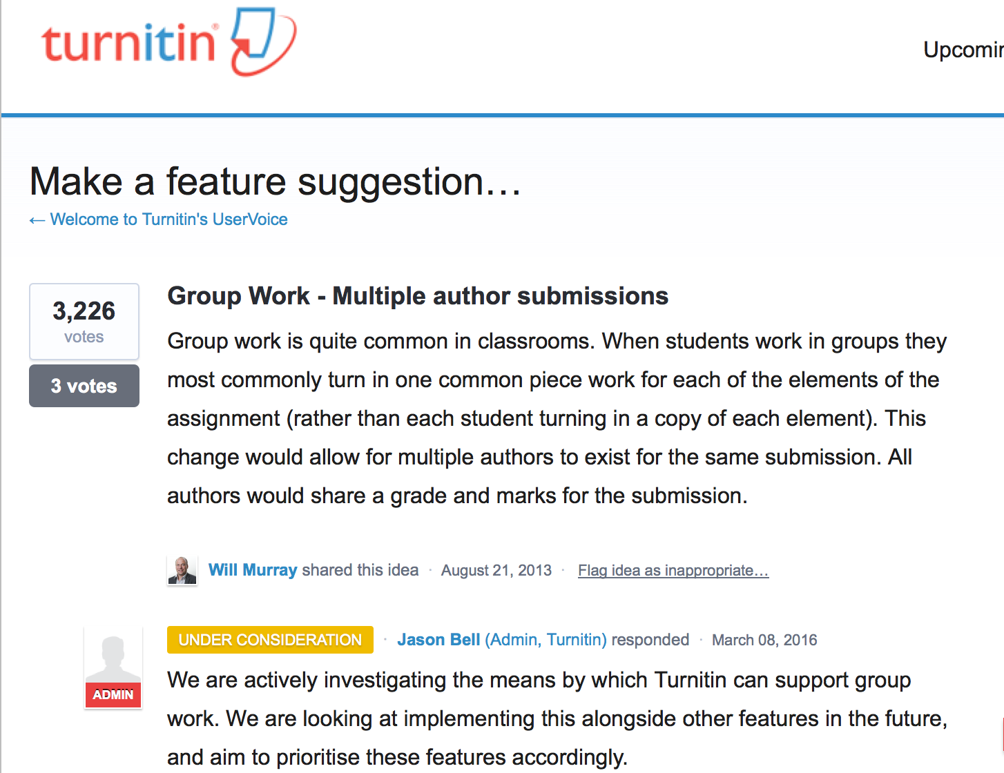 Vote for your favourite new features in Turnitin!